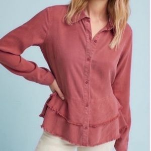 Anthropologie Cloth & Stone Tiered Button Down Top